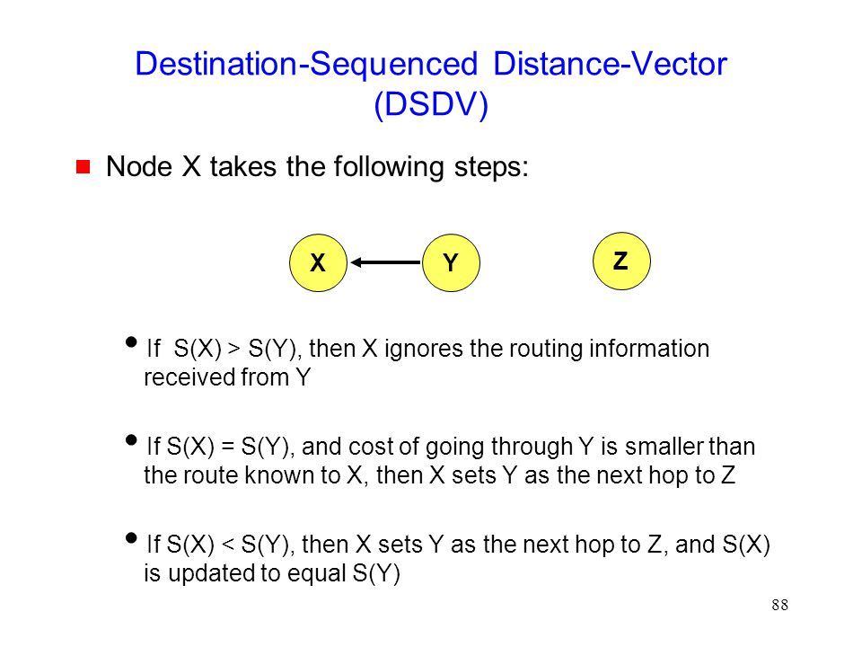 88 Destination-Sequenced Distance-Vector (DSDV)  Node X takes the following steps:  If S(X) > S(Y), then X ignores the routing information received