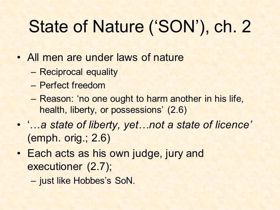 Has SON ever existed.Yes, in international sphere: –states are in SON w/ each other.