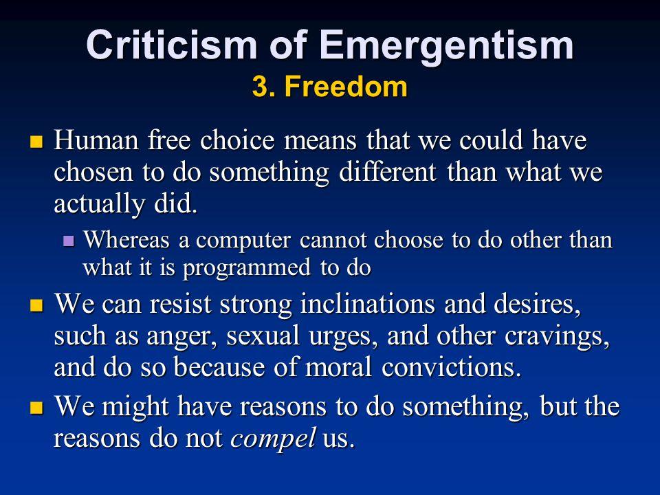 Criticism of Emergentism 3.