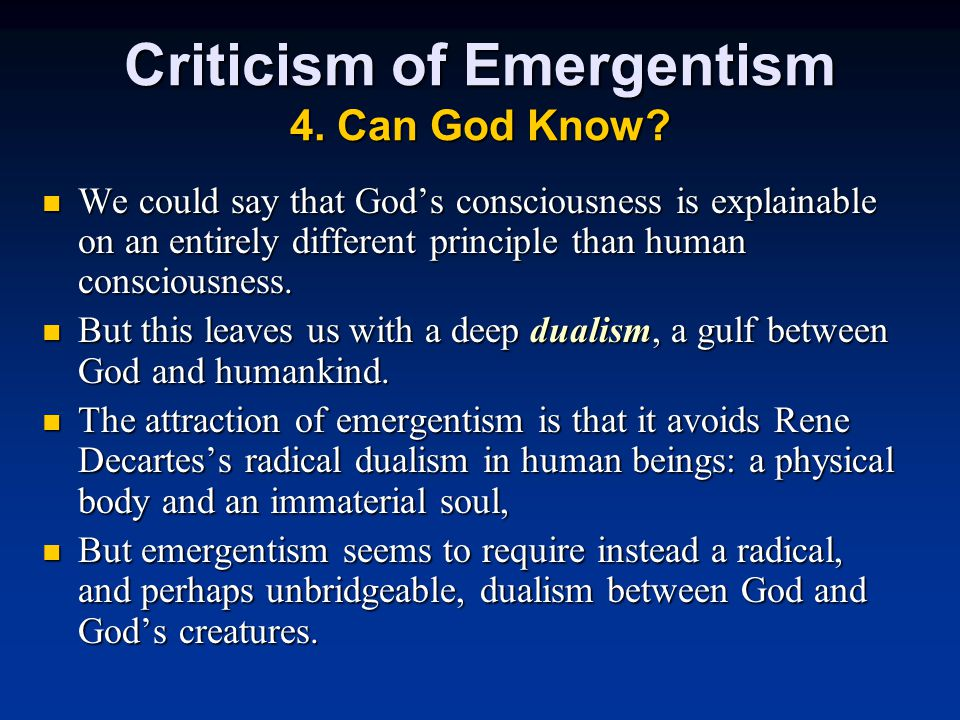 Criticism of Emergentism 4. Can God Know.