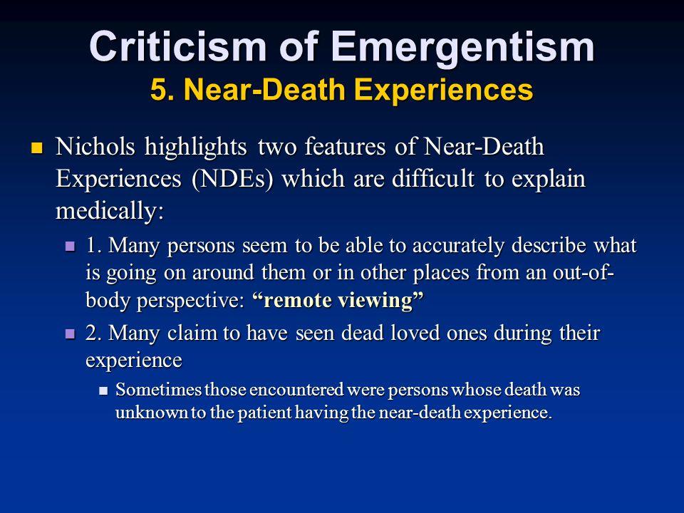 Criticism of Emergentism 5.