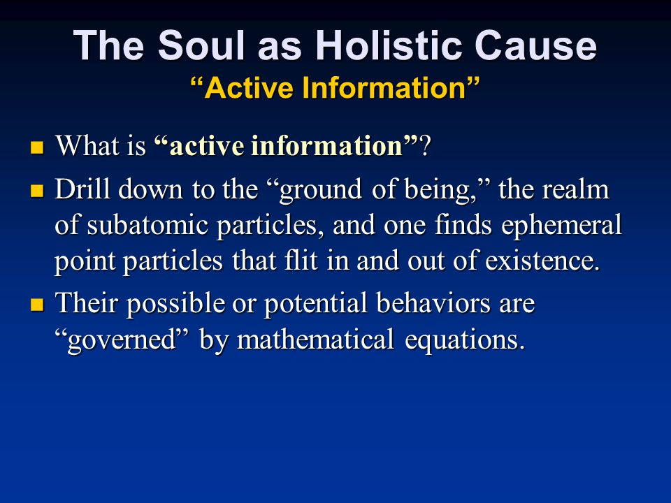 The Soul as Holistic Cause Active Information What is active information .
