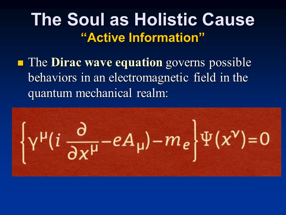 The Soul as Holistic Cause Active Information The Dirac wave equation governs possible behaviors in an electromagnetic field in the quantum mechanical realm: The Dirac wave equation governs possible behaviors in an electromagnetic field in the quantum mechanical realm:
