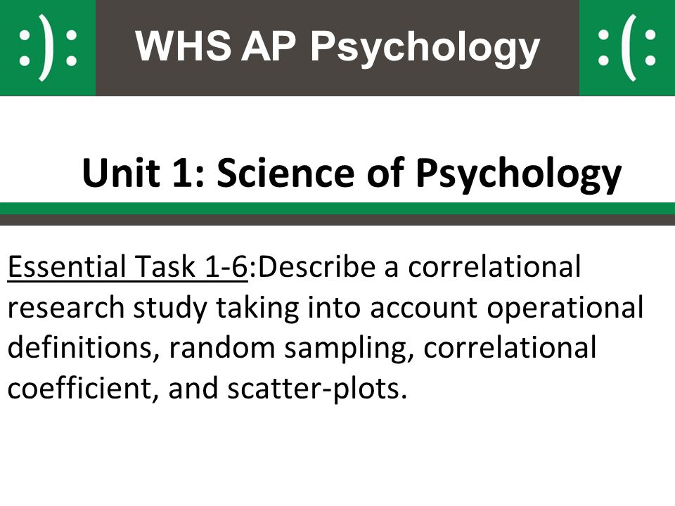 WHS AP Psychology Unit 1: Science of Psychology Essential Task 1-6:Describe a correlational research study taking into account operational definitions