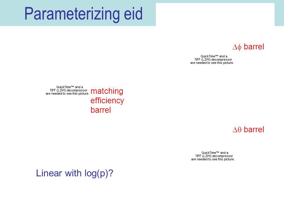 16 Parameterizing eid Linear with log(p)  barrel  barrel matching efficiency barrel