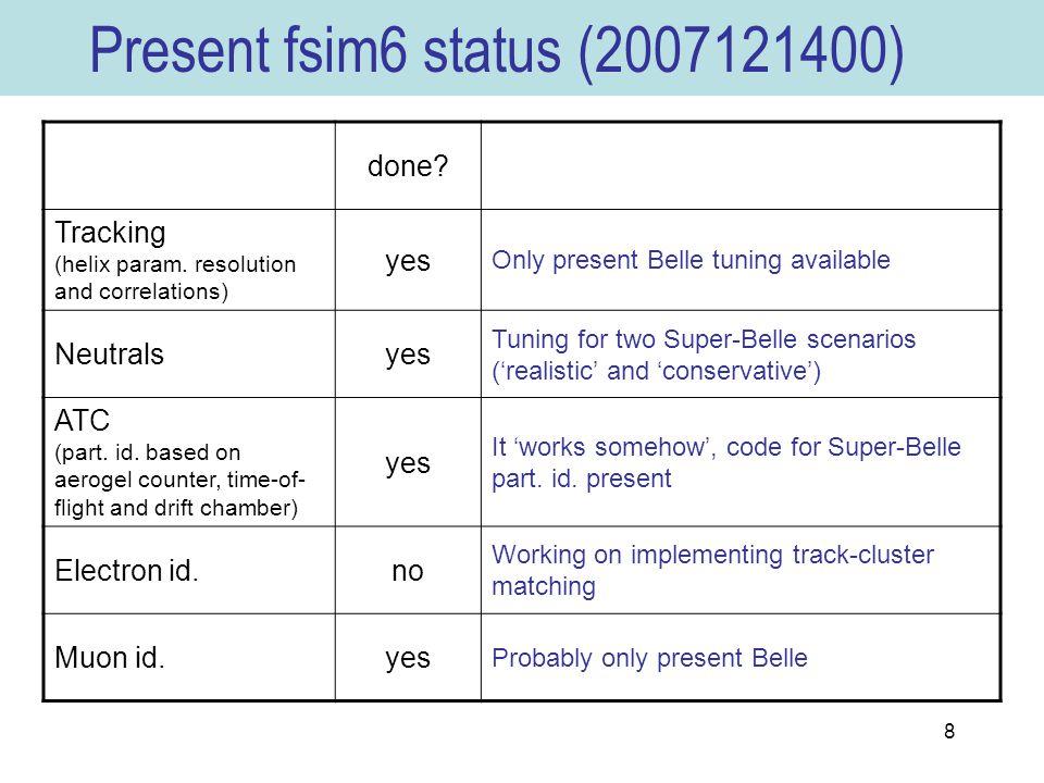 8 Present fsim6 status (2007121400) done. Tracking (helix param.