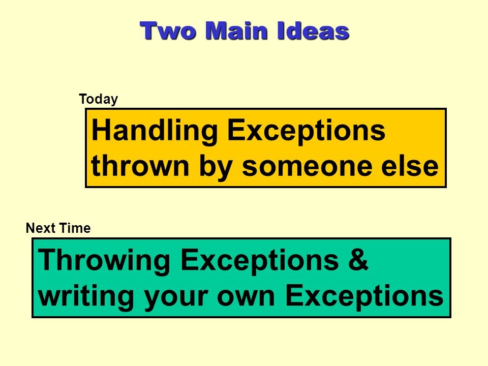 Two Main Ideas Handling Exceptions thrown by someone else Throwing Exceptions & writing your own Exceptions Today Next Time