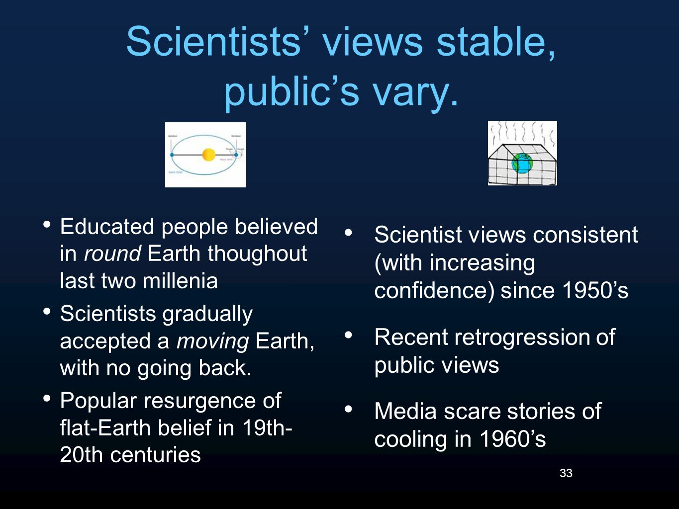 33 Scientists' views stable, public's vary.
