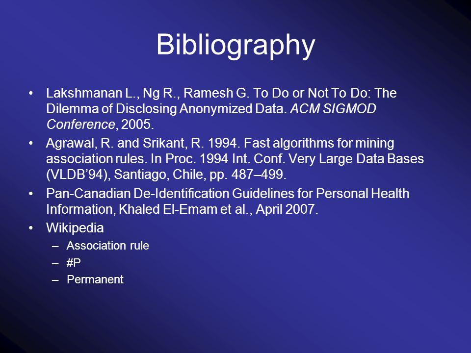 Bibliography Lakshmanan L., Ng R., Ramesh G.