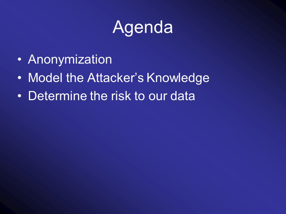Agenda Anonymization Model the Attacker's Knowledge Determine the risk to our data