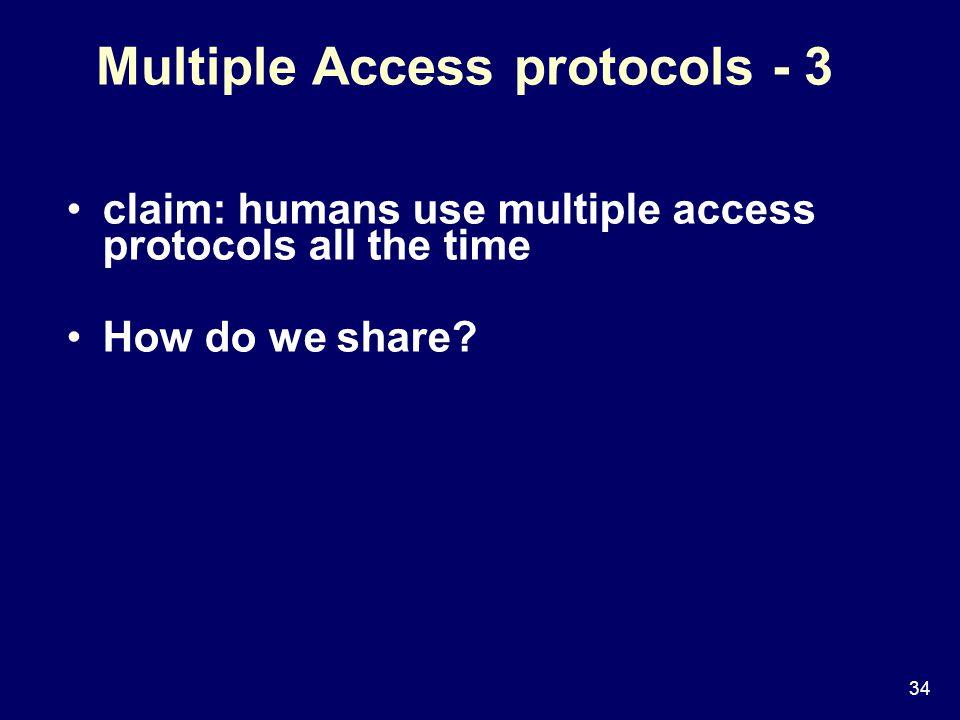 34 Multiple Access protocols - 3 claim: humans use multiple access protocols all the time How do we share?