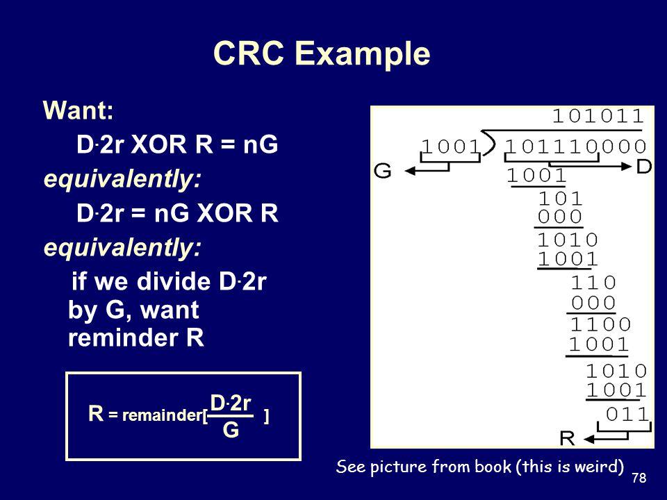 78 CRC Example Want: D.2r XOR R = nG equivalently: D.
