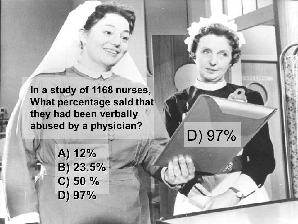 In a study of 1168 nurses, What percentage said that they had been verbally abused by a physician? D) 97% A) 12% B) 23.5% C) 50 % D) 97%