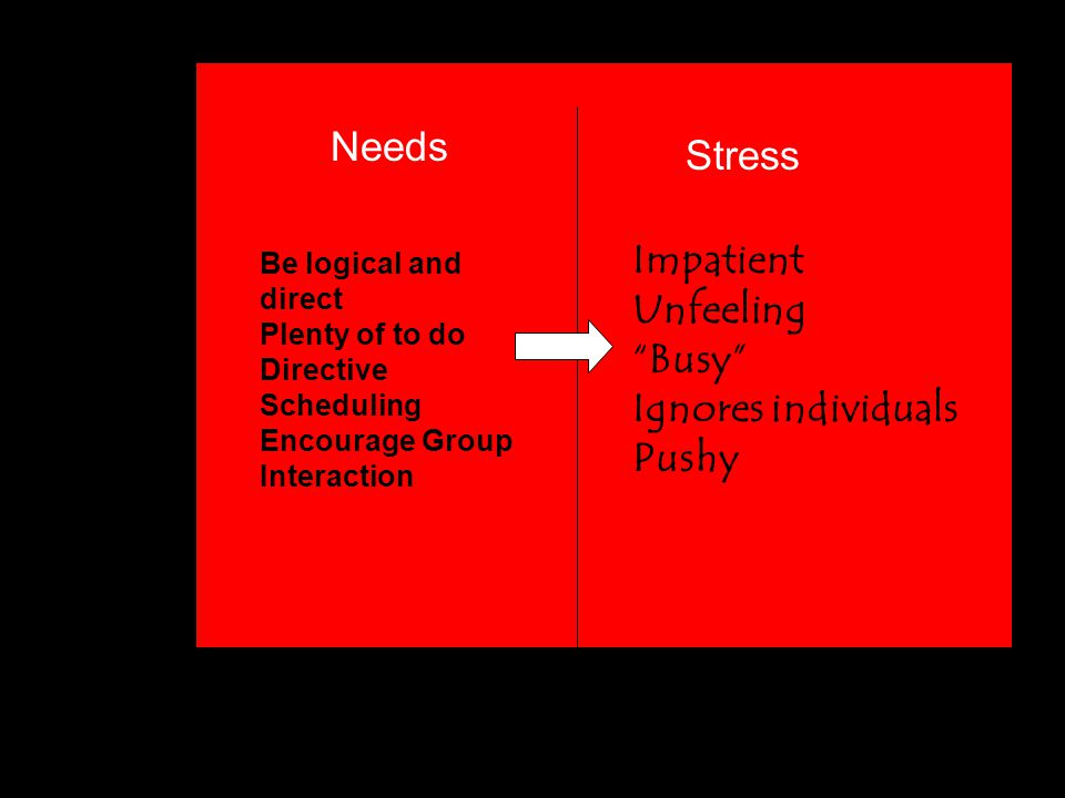 """Needs Stress Be logical and direct Plenty of to do Directive Scheduling Encourage Group Interaction Impatient Unfeeling """"Busy"""" Ignores individuals Pus"""