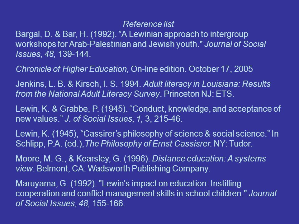 Reference list Bargal, D. & Bar, H. (1992).