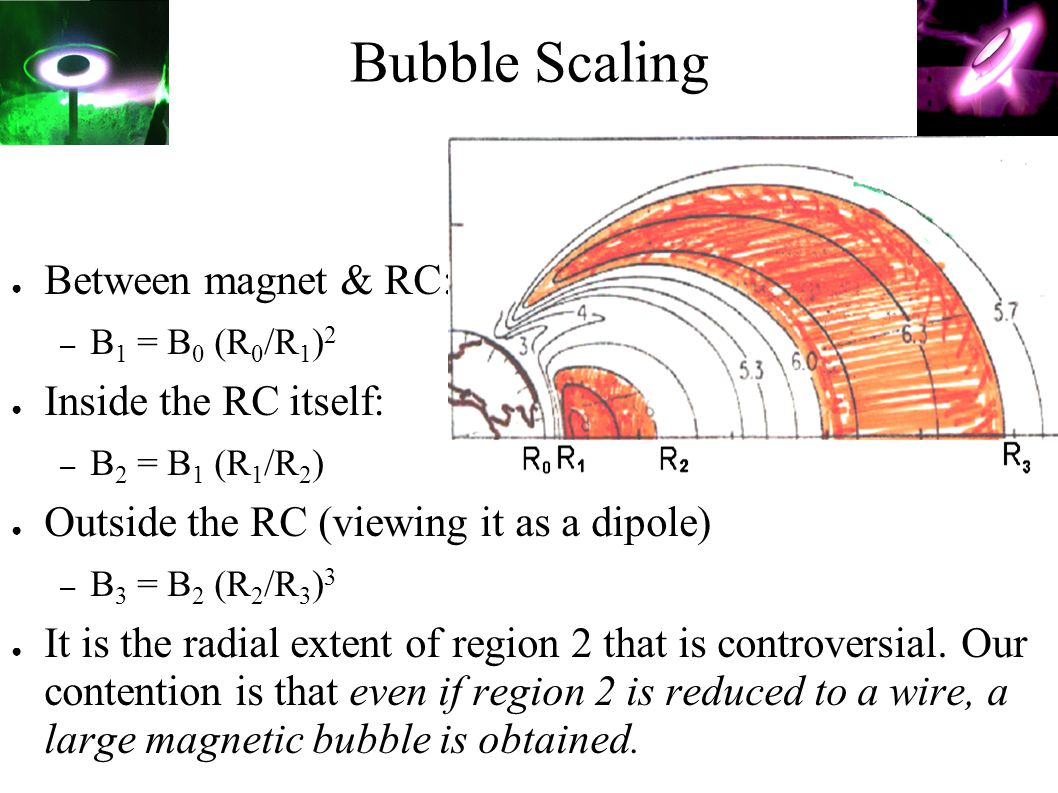 Bubble Scaling ● Between magnet & RC: R0 – B 1 = B 0 (R 0 /R 1 ) 2 ● Inside the RC itself: – B 2 = B 1 (R 1 /R 2 ) ● Outside the RC (viewing it as a d