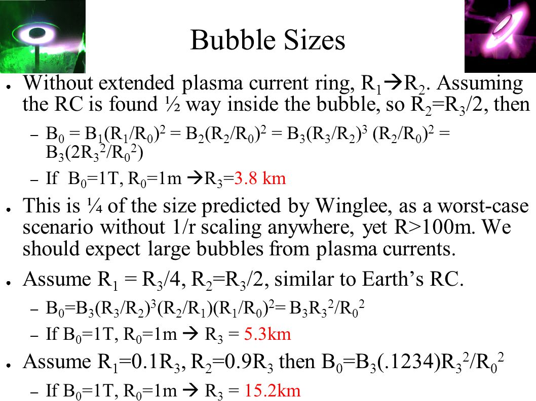 Bubble Sizes ● Without extended plasma current ring, R 1  R 2.