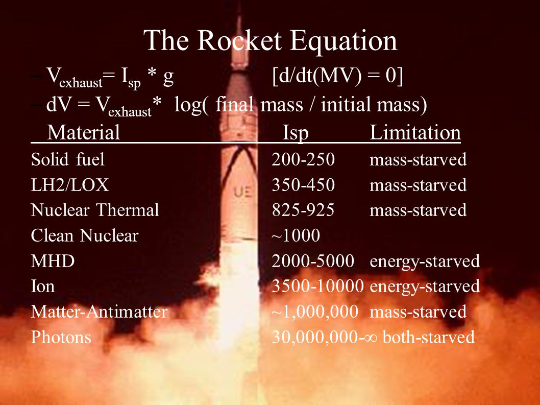 –V exhaust = I sp * g [d/dt(MV) = 0] –dV = V exhaust * log( final mass / initial mass) Material Isp Limitation Solid fuel 200-250mass-starved LH2/LOX350-450mass-starved Nuclear Thermal825-925mass-starved Clean Nuclear~1000 MHD2000-5000energy-starved Ion3500-10000energy-starved Matter-Antimatter~1,000,000mass-starved Photons30,000,000-  both-starved The Rocket Equation