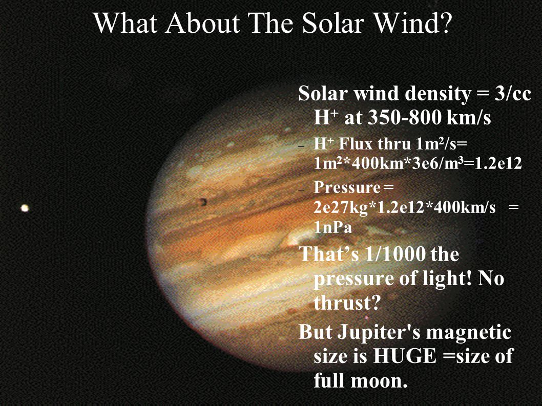 What About The Solar Wind? Solar wind density = 3/cc H + at 350-800 km/s – H + Flux thru 1m 2 /s= 1m 2 *400km*3e6/m 3 =1.2e12 – Pressure = 2e27kg*1.2e