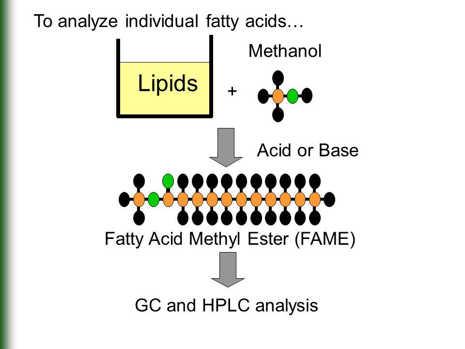 + Acid or Base Methanol Fatty Acid Methyl Ester (FAME) Lipids To analyze individual fatty acids… GC and HPLC analysis