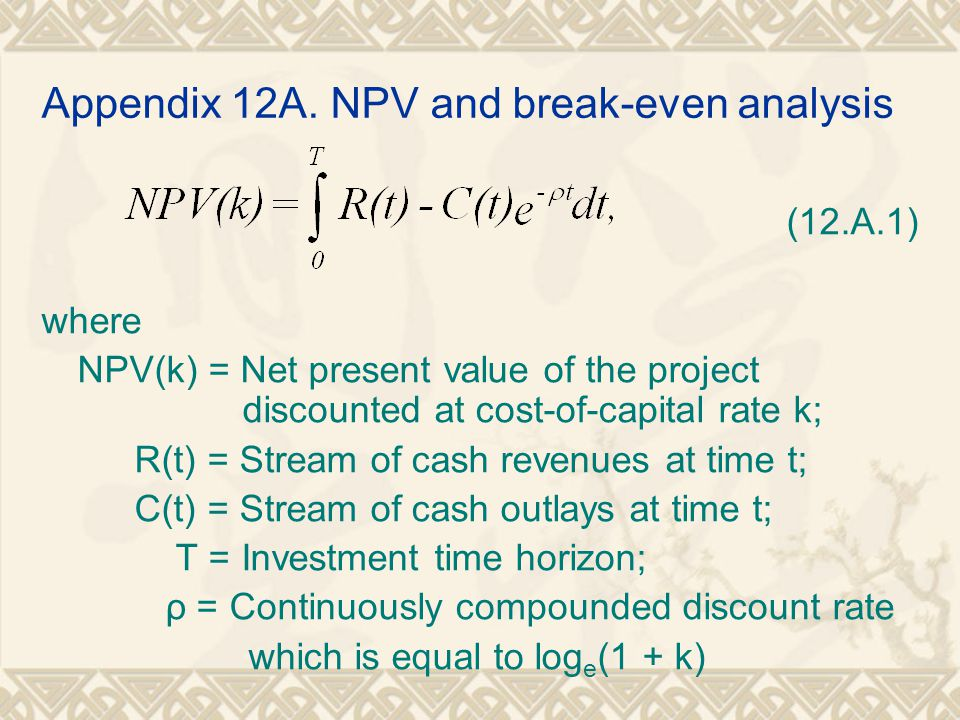 Appendix 12A. NPV and break-even analysis (12.A.1) where NPV(k) = Net present value of the project discounted at cost-of-capital rate k; R(t) = Stream