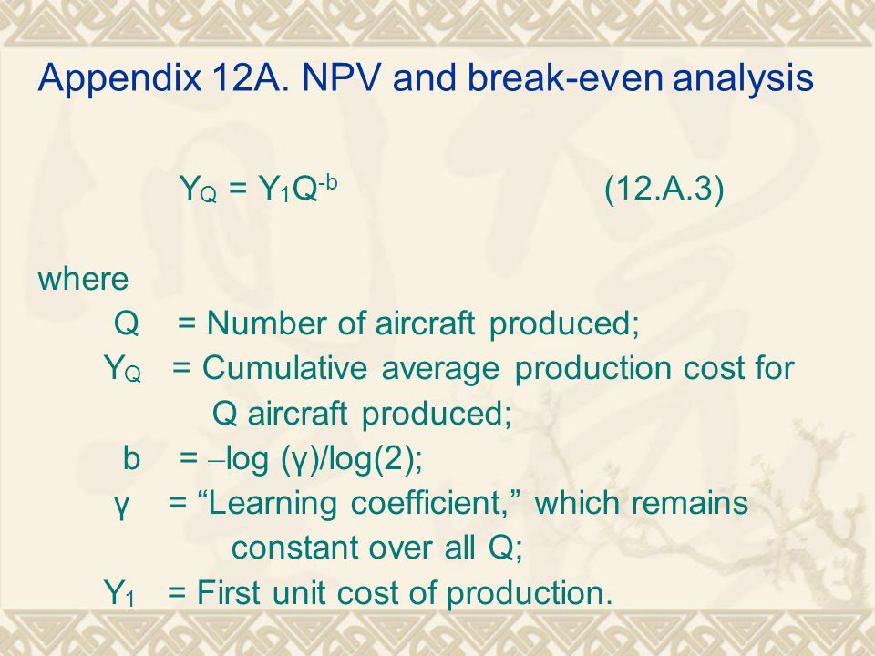 Appendix 12A. NPV and break-even analysis Y Q = Y 1 Q -b (12.A.3) where Q = Number of aircraft produced; Y Q = Cumulative average production cost for