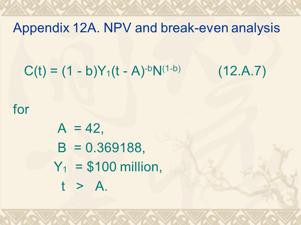 Appendix 12A. NPV and break-even analysis C(t) = (1 - b)Y 1 (t - A) -b N (1-b) (12.A.7) for A = 42, B = 0.369188, Y 1 = $100 million, t > A.