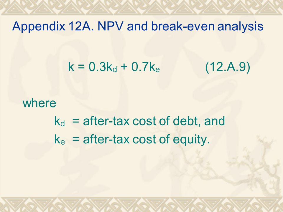 Appendix 12A. NPV and break-even analysis k = 0.3k d + 0.7k e (12.A.9) where k d = after-tax cost of debt, and k e = after-tax cost of equity.