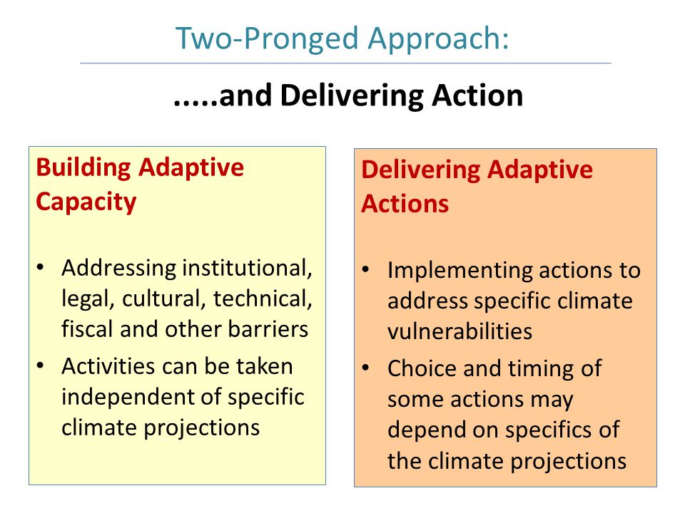.....and Delivering Action Building Adaptive Capacity Addressing institutional, legal, cultural, technical, fiscal and other barriers Activities can be taken independent of specific climate projections Delivering Adaptive Actions Implementing actions to address specific climate vulnerabilities Choice and timing of some actions may depend on specifics of the climate projections Two-Pronged Approach: