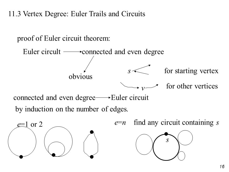 16 11.3 Vertex Degree: Euler Trails and Circuits proof of Euler circuit theorem: Euler circult connected and even degree v for other vertices sfor starting vertex obvious connected and even degree Euler circuit by induction on the number of edges.