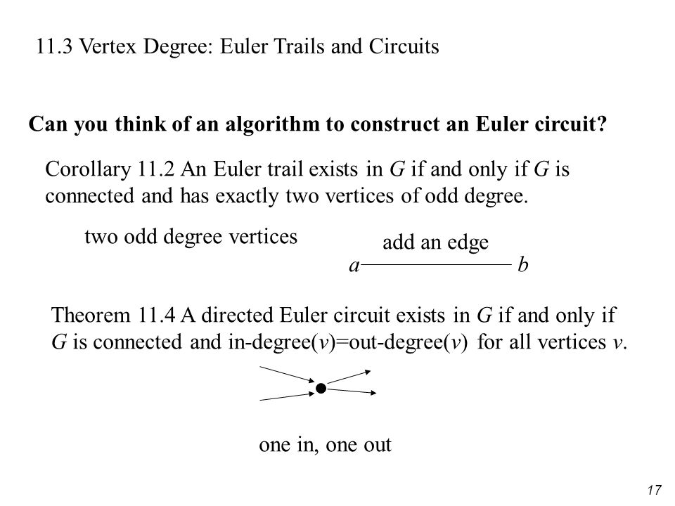 17 11.3 Vertex Degree: Euler Trails and Circuits Corollary 11.2 An Euler trail exists in G if and only if G is connected and has exactly two vertices