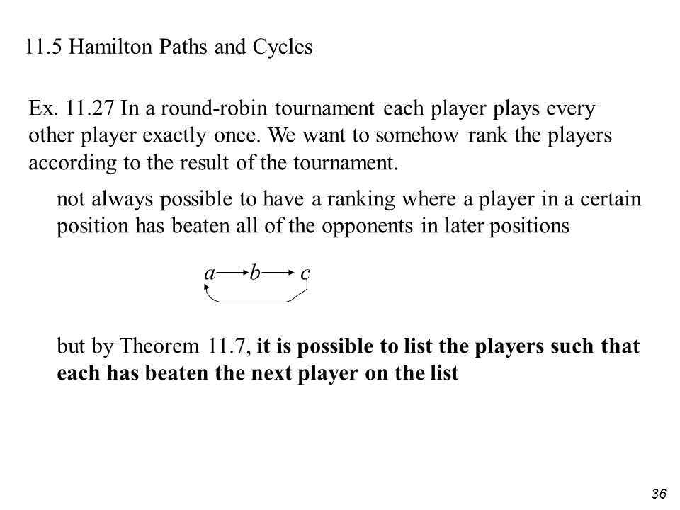 36 11.5 Hamilton Paths and Cycles Ex. 11.27 In a round-robin tournament each player plays every other player exactly once. We want to somehow rank the