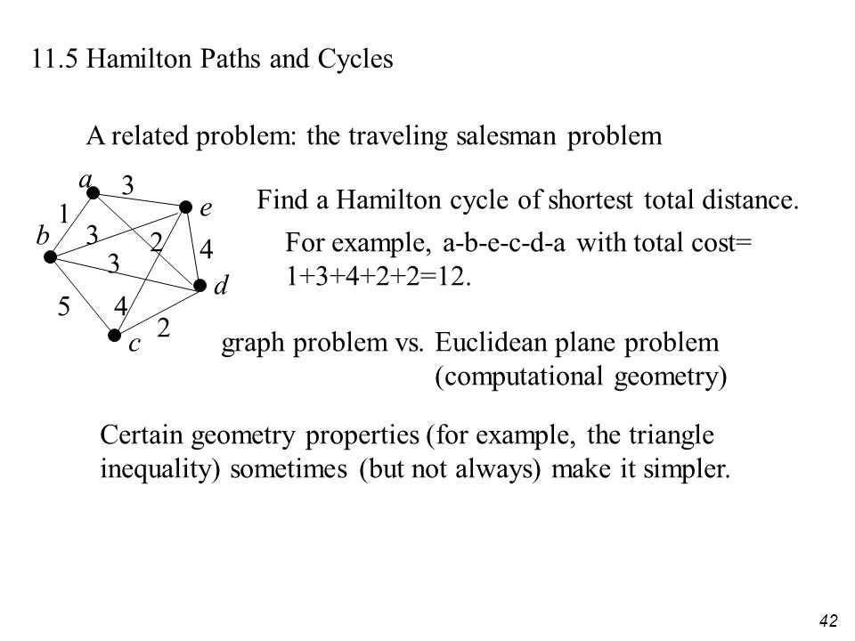 42 11.5 Hamilton Paths and Cycles A related problem: the traveling salesman problem a b c d e 3 4 1 3 54 3 2 Find a Hamilton cycle of shortest total d