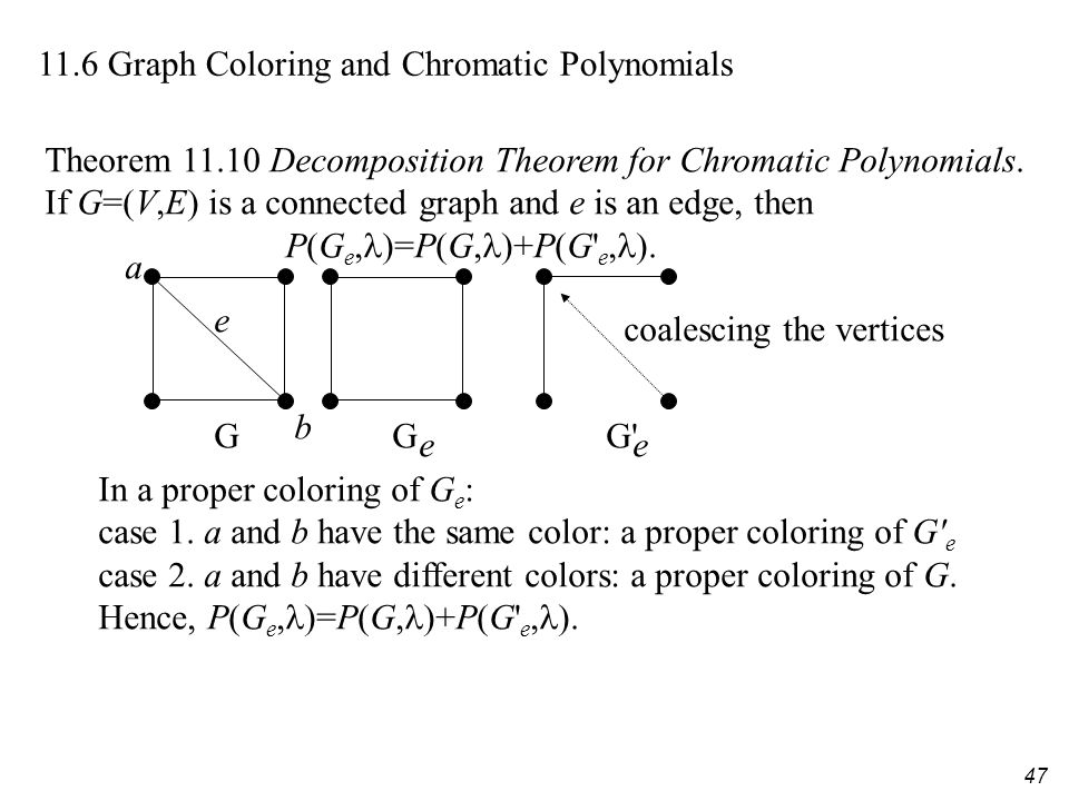 47 11.6 Graph Coloring and Chromatic Polynomials Theorem 11.10 Decomposition Theorem for Chromatic Polynomials.