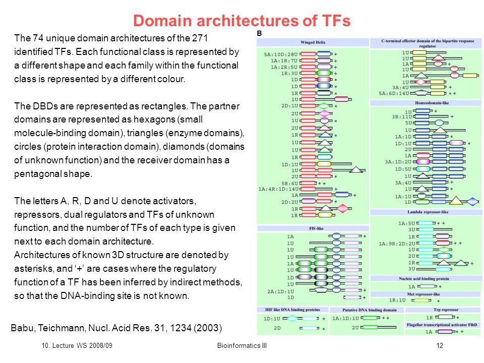 10. Lecture WS 2008/09Bioinformatics III12 Domain architectures of TFs The 74 unique domain architectures of the 271 identified TFs. Each functional c