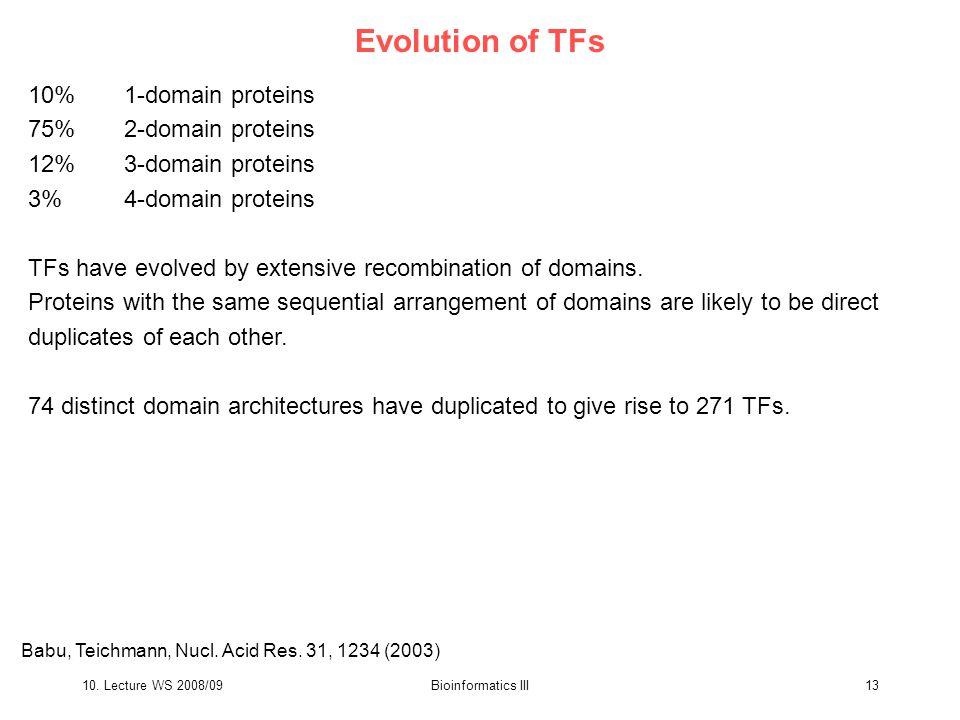 10. Lecture WS 2008/09Bioinformatics III13 Evolution of TFs 10%1-domain proteins 75%2-domain proteins 12%3-domain proteins 3%4-domain proteins TFs hav
