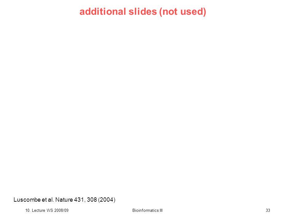 10. Lecture WS 2008/09Bioinformatics III33 Luscombe et al.