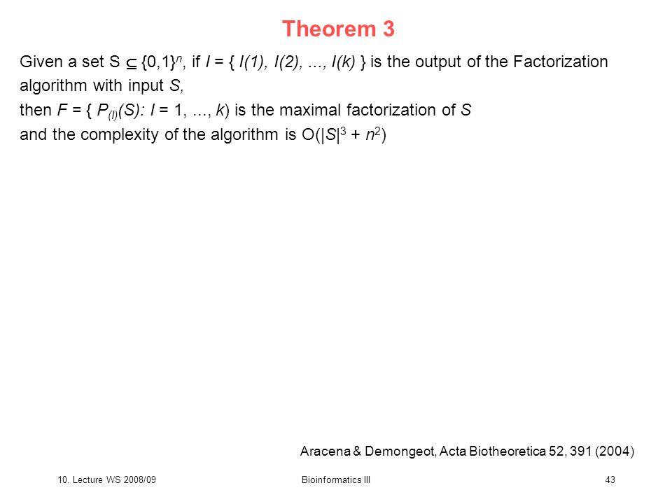 10. Lecture WS 2008/09Bioinformatics III43 Theorem 3 Given a set S  {0,1} n, if I = { I(1), I(2),..., I(k) } is the output of the Factorization algor