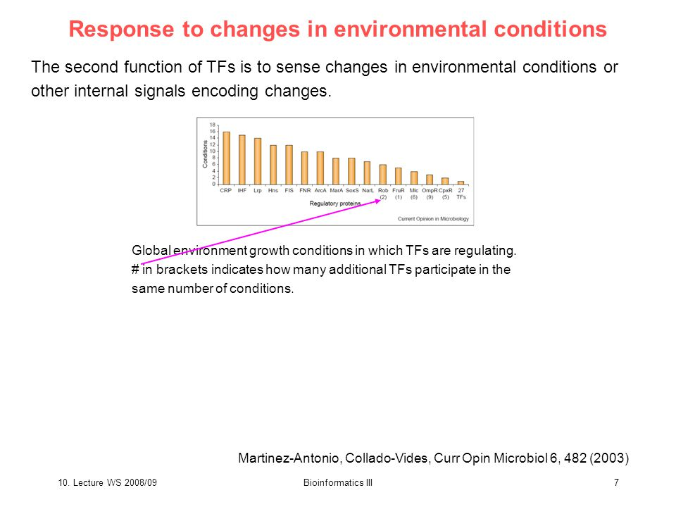 10. Lecture WS 2008/09Bioinformatics III7 Response to changes in environmental conditions The second function of TFs is to sense changes in environmen