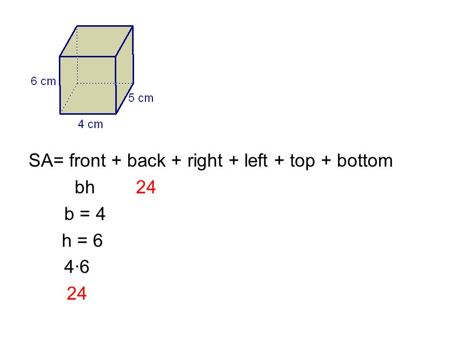 SA= front + back + right + left + top + bottom bh 24 b = 4 h = 6 4·6 24