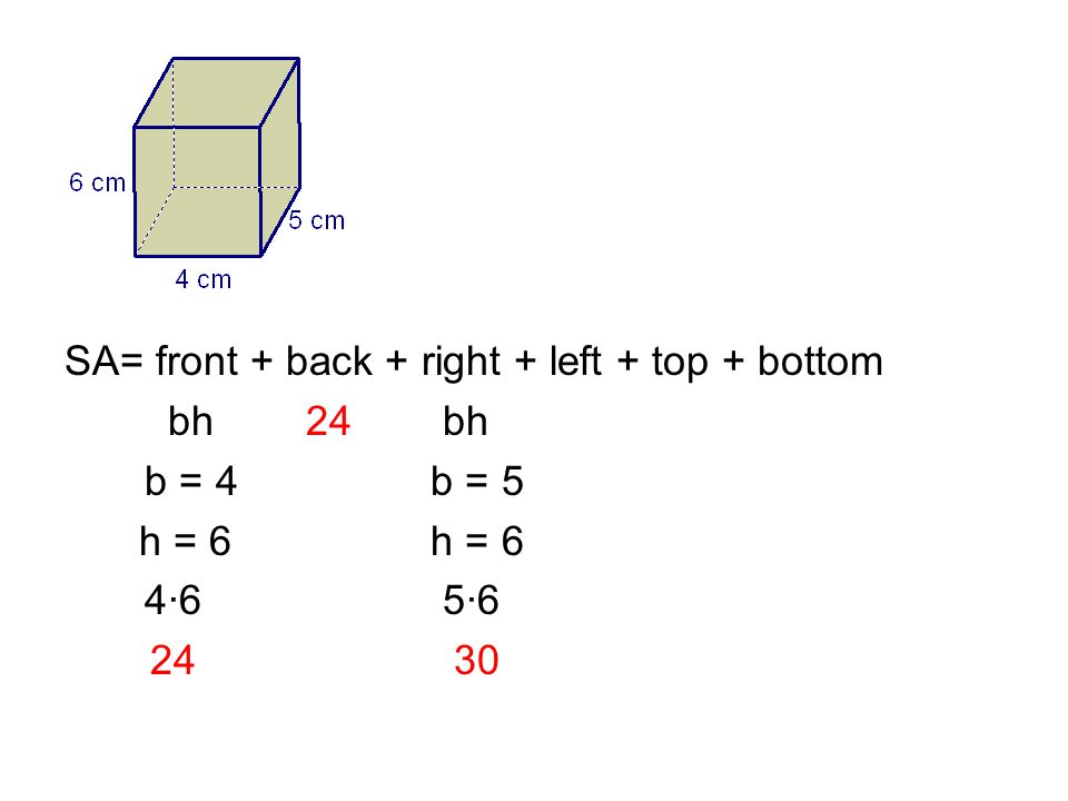 SA= front + back + right + left + top + bottom bh 24 bh b = 4 b = 5 h = 6 h = 6 4·6 5·6 24 30