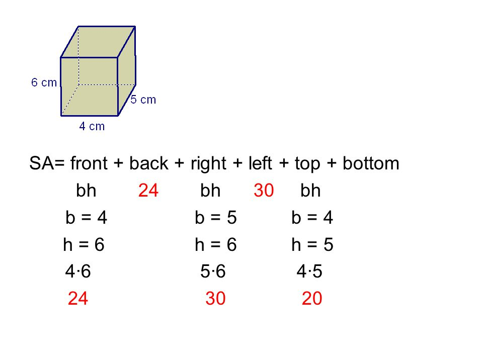 SA= front + back + right + left + top + bottom bh 24 bh 30 bh b = 4 b = 5 b = 4 h = 6 h = 6 h = 5 4·6 5·6 4·5 24 30 20