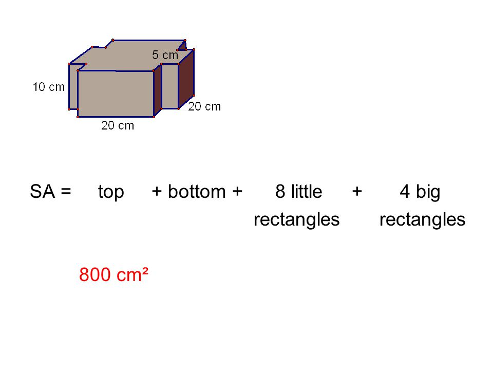 SA = top + bottom + 8 little + 4 big rectangles rectangles 800 cm²