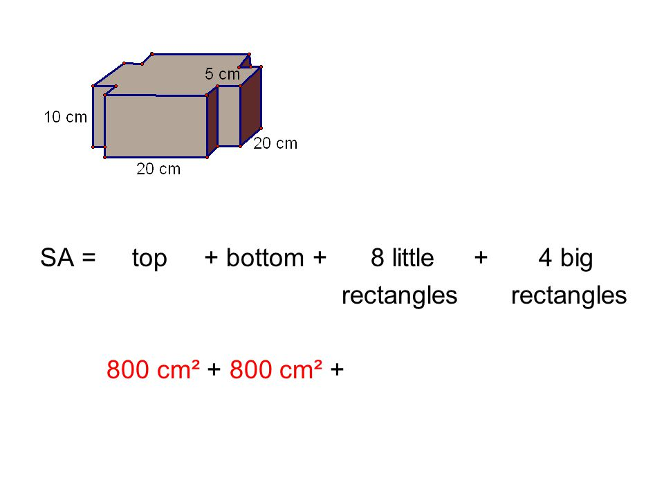 SA = top + bottom + 8 little + 4 big rectangles rectangles 800 cm² +