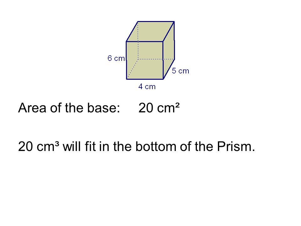 Area of the base:20 cm² 20 cm³ will fit in the bottom of the Prism.