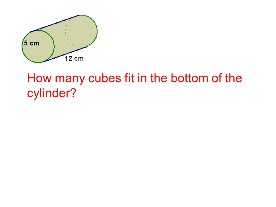 How many cubes fit in the bottom of the cylinder?
