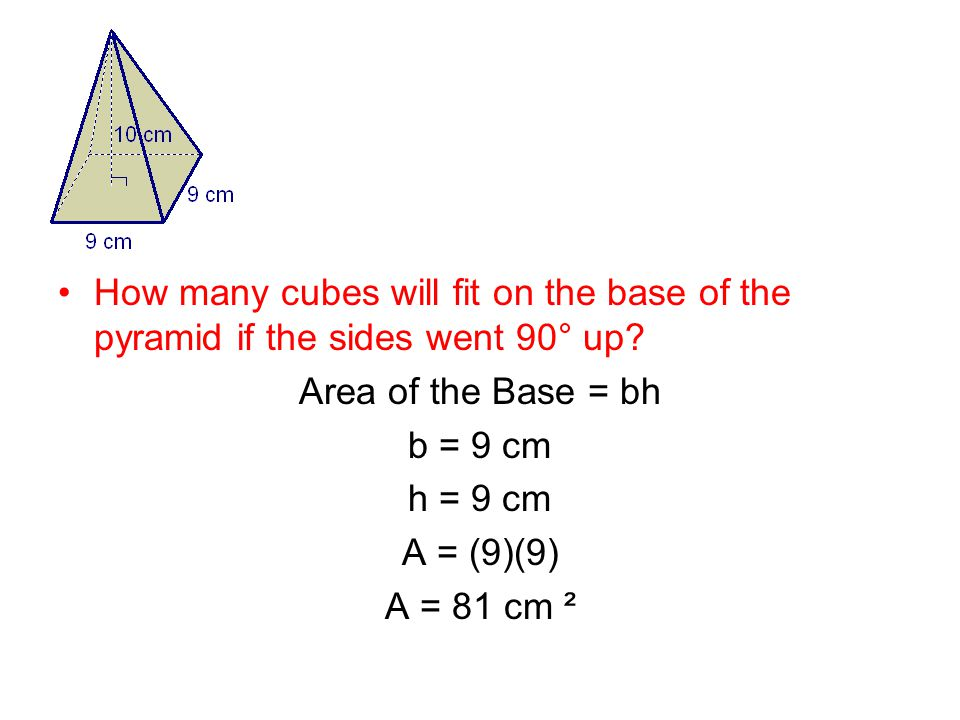 Area of the Base = bh b = 9 cm h = 9 cm A = (9)(9) A = 81 cm ²