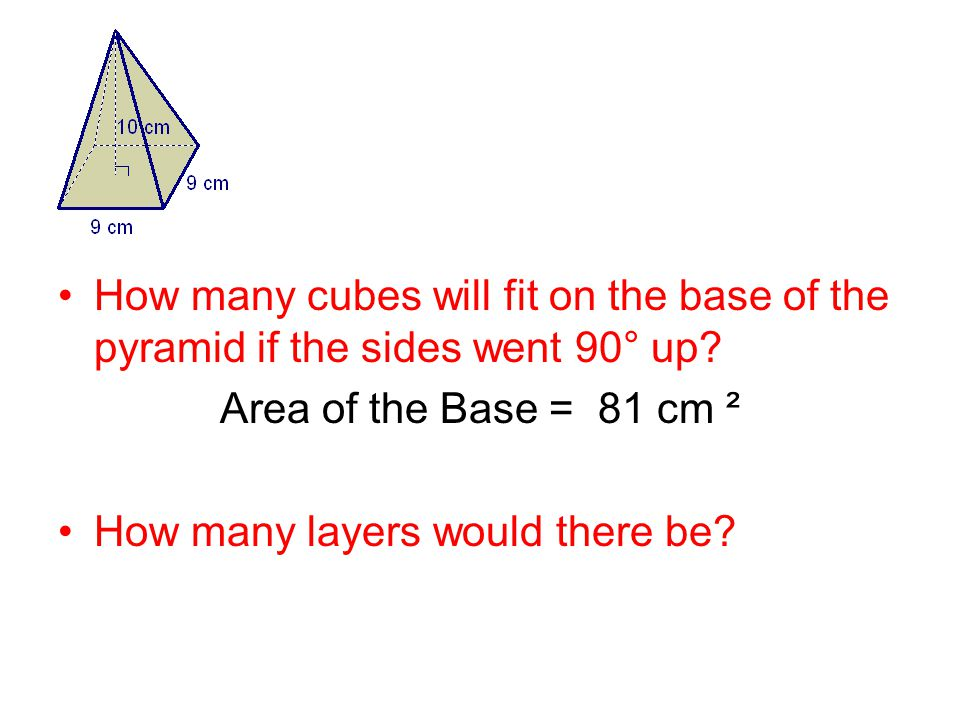 How many cubes will fit on the base of the pyramid if the sides went 90° up.