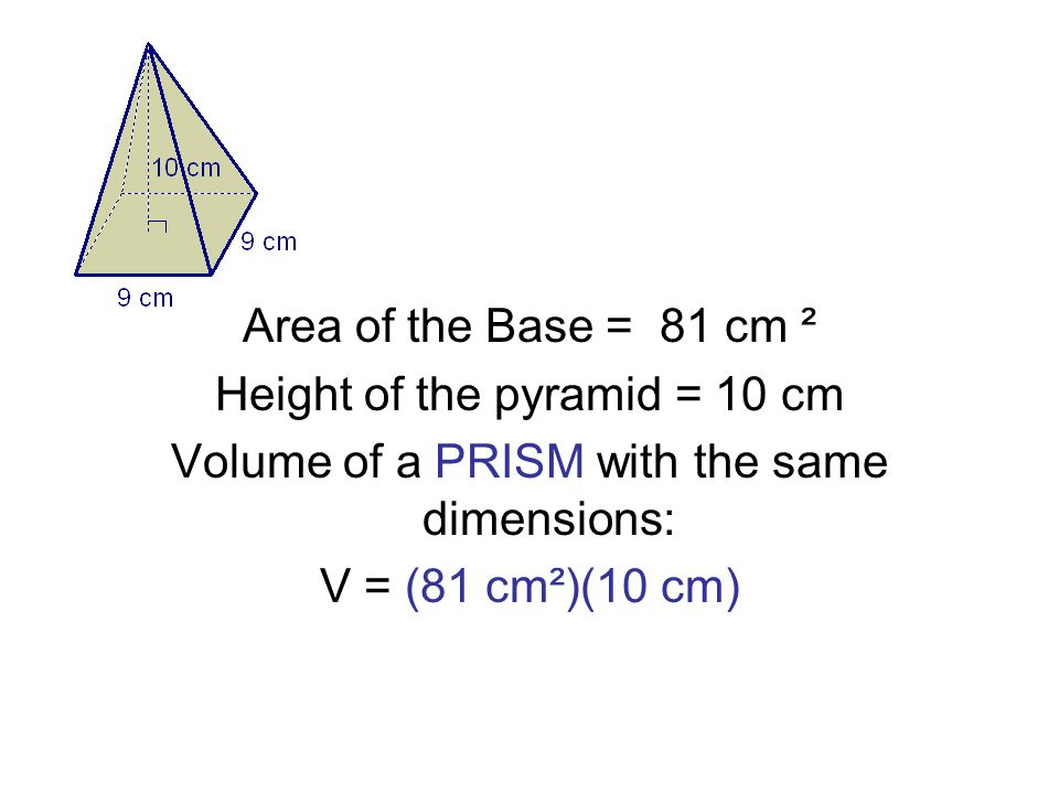 Area of the Base = 81 cm ² Height of the pyramid = 10 cm Volume of a PRISM with the same dimensions: V = (81 cm²)(10 cm)