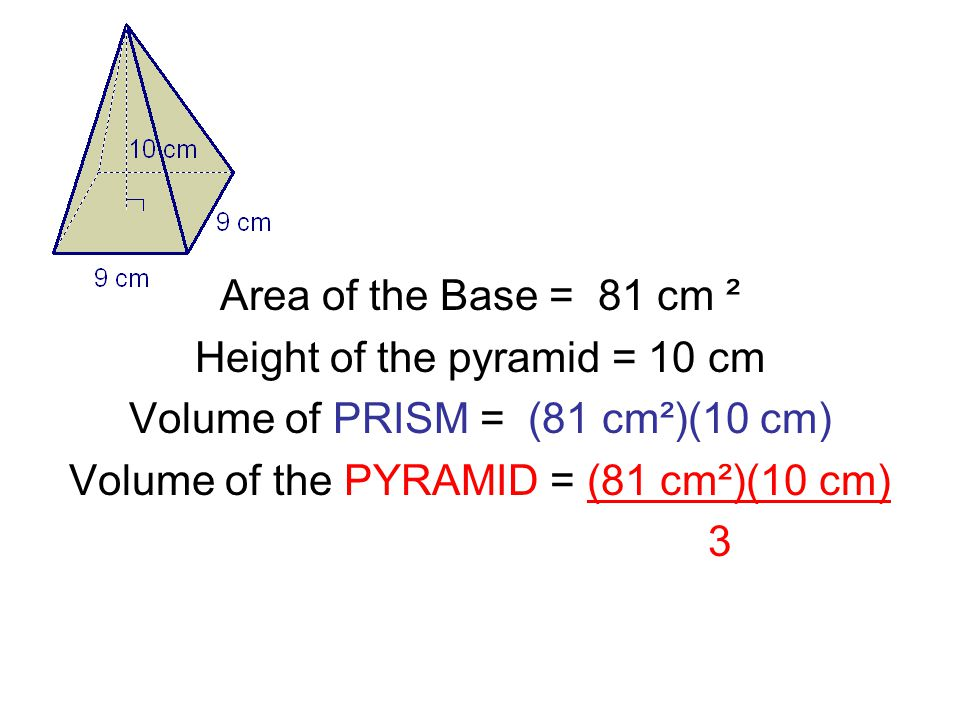 Area of the Base = 81 cm ² Height of the pyramid = 10 cm Volume of PRISM = (81 cm²)(10 cm) Volume of the PYRAMID = (81 cm²)(10 cm) 3
